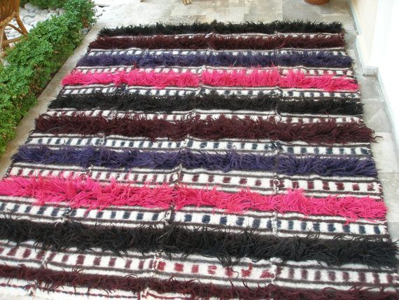 Rare Antique Multicolour Flokati Kilim Rug by VintageHomeStories IT 'S TIME TO THINK OF THIS!!! NOW WITH COUPON SALES 30%OFF!!!