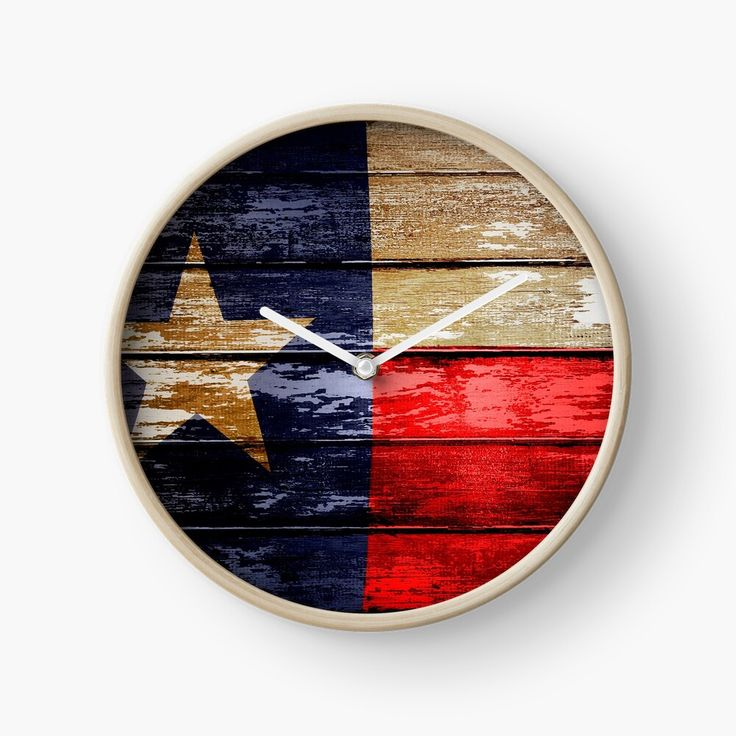 Get My Art Printed On Awesome Products Support Me At Redbubble Rbandme Https Www Redbubble Com I Clock Texas Texas Flag Wood In 2020 Clock Usa Flag American Flag