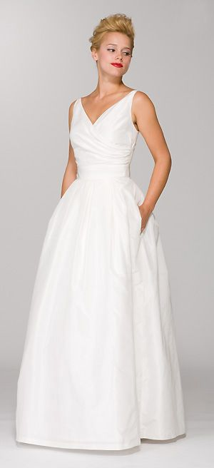 Aria Style 141FB  Surplice style V-neck dress with sewn-in waistband and side pockets, shown here in gardenia silk taffeta. I could jazz up the hell outta this dress <3