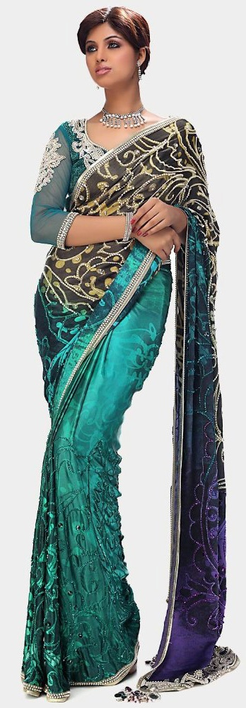 Satya Paul Aqua Sea Green Georgette Saree