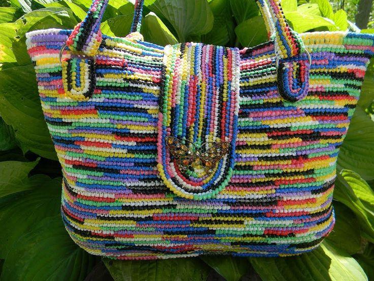 Вязаные сумки из пакетов. Мастер класс. Сrocheted Handbags. Do it yourself