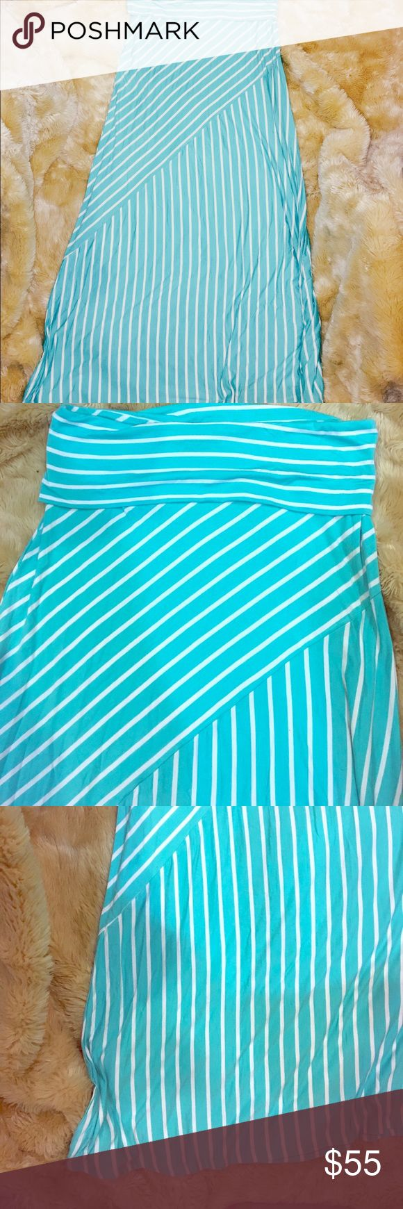 """NEW! MIK Striped Maxi Skirt (Turquoise/White) Striped maxi skirt can also double as a dress (think tube top and belt. It is about ankle length if worn as a skirt. The stripes are going diagonally along the dress. #HelloSummer This skirt screams summer with it free, flowy, light and bright, beautiful color. It looks like the color of the carribbean ocean. It is 45.5""""long with good stretch. MIK Skirts Maxi"""
