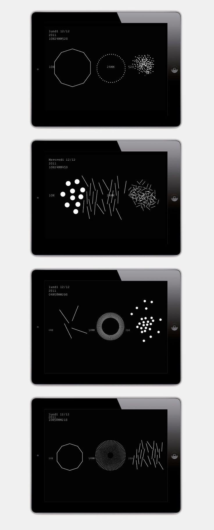 interactivité, design graphique, design, application, application mobile, application iphone, iphone, application ipad, ipad, horloge, appli...