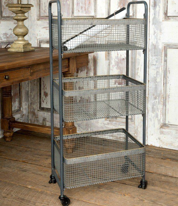 Metal Utility Cart With 3 Wire Mesh Storage Baskets