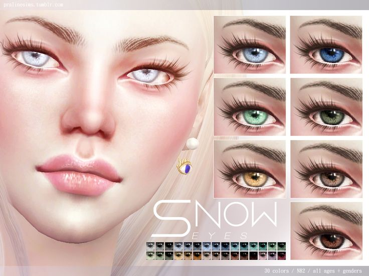 Realistic eyes in 30 colors, all ages and genders.  Found in TSR Category 'Sims 4 Female Costume Makeup'
