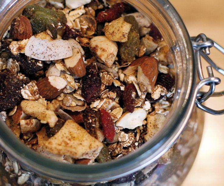 Muesli..... oats, almonds, hazelnuts, flaked coconut, sunflower seeds, chia seeds, honey, coconut oil cinnamon, vanilla, dried fruit