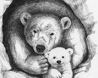 Dit is een afdruk van mijn originele pen en inkt tekenen van een mama en baby olifant. Ik hou van het doen van kunst die relaties vertegenwoordigt, en zulks men roept de beschermende liefde van een moeder voor haar baby. Het origineel van deze tekening was een cadeau voor mijn kleine nicht, om op te hangen in zijn kamer.  De afdruk formaat wordt aangepast om te passen in een standaard frame 9 x 12 (de afmetingen van de afgedrukte illustraties zijn ongeveer 8 x 10.5, met een kleine witte rand…