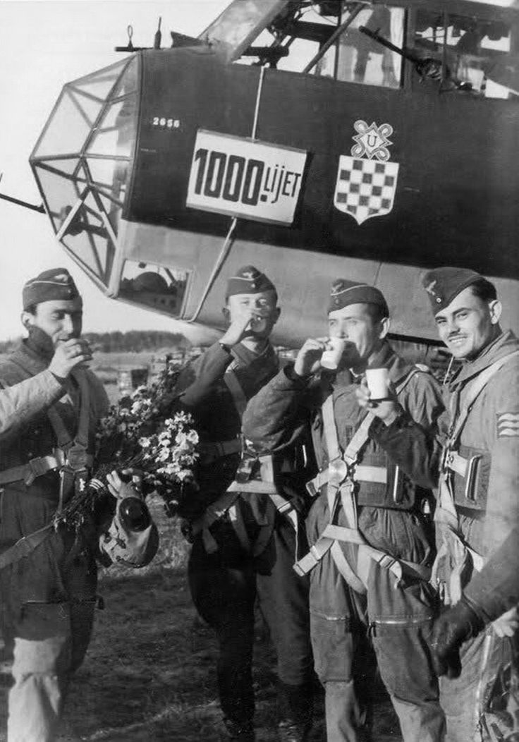 Members of the Croatian Air Force Legion (HZL) pose in front of their Dornier Do 17Z bomber in recognition of the unit's 1,000th sortie over the Eastern Front. The Croatian Air Force (Croatian: Hrvatsko bojno zrakoplovstvo), was the air force of the Independent State of Croatia (NDH), a puppet state established with the support of Germany and other Axis Powers during World War II. Zagreb, Croatia. 16 September 1942.