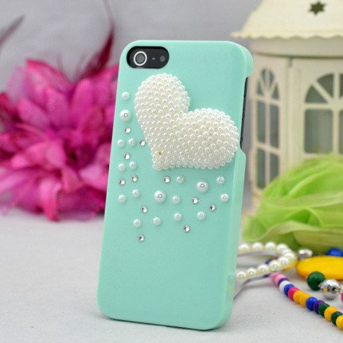 3d pearl beads decorated heart shape phone case for iphone