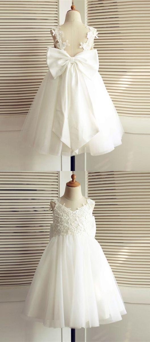 white wedding flower girl dresses, v neck backless little girl dresses, tulle flower girl dress with bow
