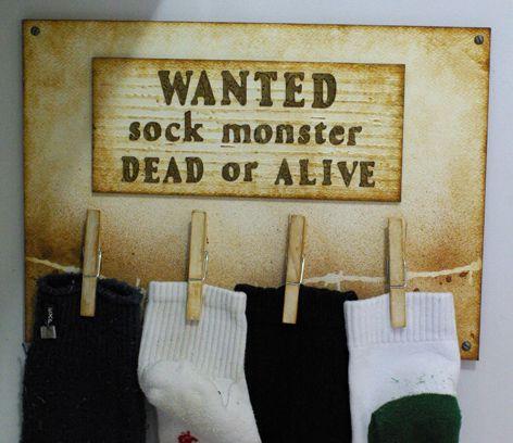 Sock Monster Laundry SignDiy Home Decor, Crafts Ideas, Decor Ideas, Diy Crafts, Monsters Crafts, Lost Socks, Socks Monsters, Laundry Signs, Laundry Room