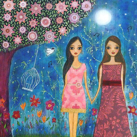 Best Friends Painting, Mixed Media Friendship Painting, Girlfriends Gift Art…