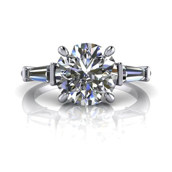 Colorless Moissanite Engagement Ring Diamond and Pure Light™ Moissanit