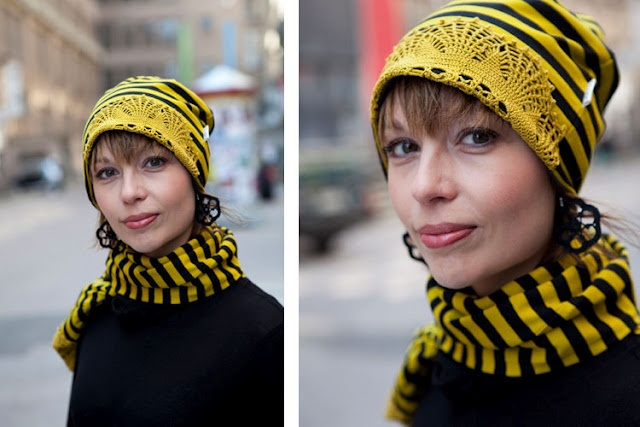 Loru - beanie and scafr from recyckled cotton jersey and vintage doilies