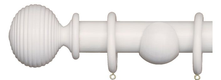 White Curtain Pole with Langton Finial