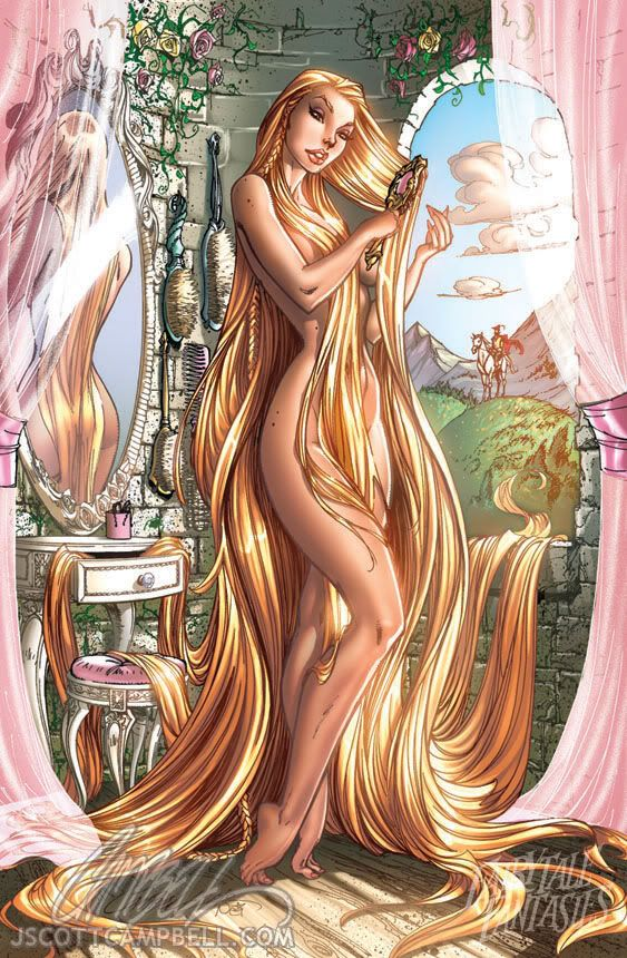 Jeffrey Scott Campbell - Princesas Disney: J Scott Campbell, L'Wren Scott, Disney Princesses, Long Hair, Fairyt Fantasy, Comic Book, Comicbook, Rapunzel, Fairies Tales