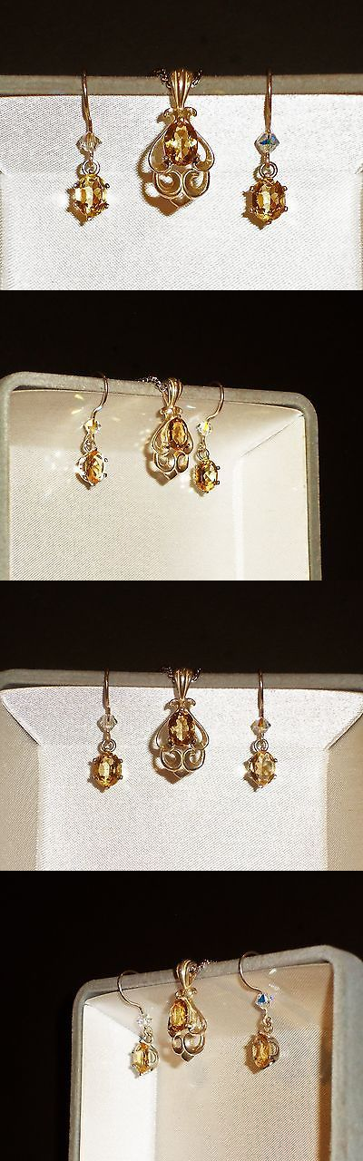 Other Fine Jewelry Sets 164328: Natural Golden Citrine Pendant And Earring Set In .925 Sterling Silver BUY IT NOW ONLY: $44.99
