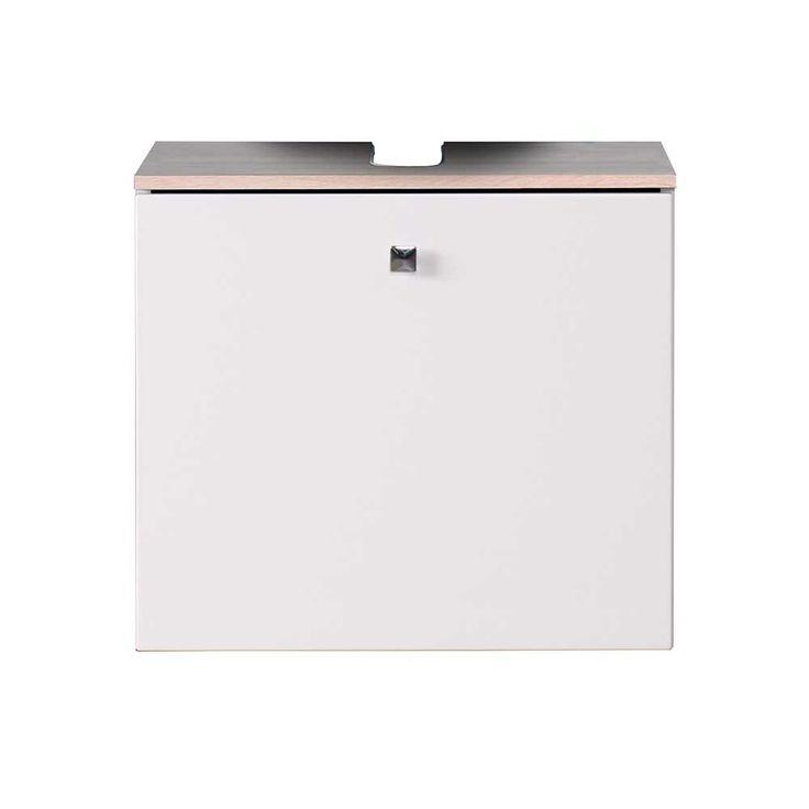 Waschbeckenunterschrank Weiß Hochglanz Eiche Sonoma Vindras