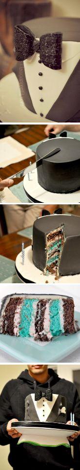 Tuxedo Cake Tutorial http://thecakebar.tumblr.com/post/62076360986/tuxedo-birthday-cake-tutorial-with-printable-bow
