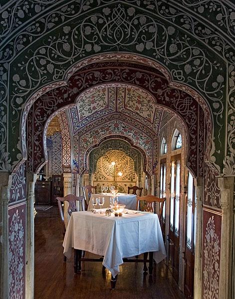 The fine dining restaurant at the Samode Haveli, Jaipur (Rajasthan) India