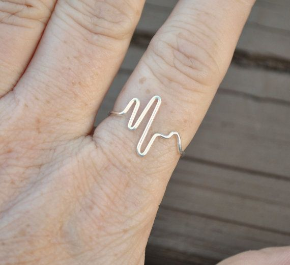 Adjustable Wire Ring Heartbeat Ring Love Heart by LorisWireJewelry