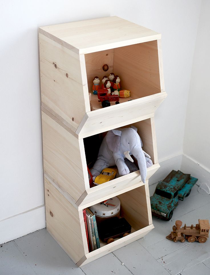 diy wooden toy bins...