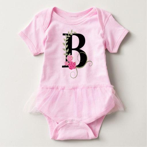 Pink/Black Floral Monogram Tutu Bodysuit