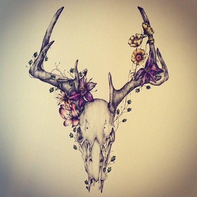 New piece for the #northcote gallery...on show soon! #deer #skull #deerskull #flowers #dontpicktheflowers #deerskull #ink #handdrawn #illustration #art #design #gallery #northcote #penandink #watercolour
