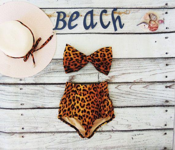 High Waisted Vintage Bow Bikini in Leopard Animal print Cute Sexy Swimwear Retro Swimming Costume Look Hot be Cool Swimwear Cheetah