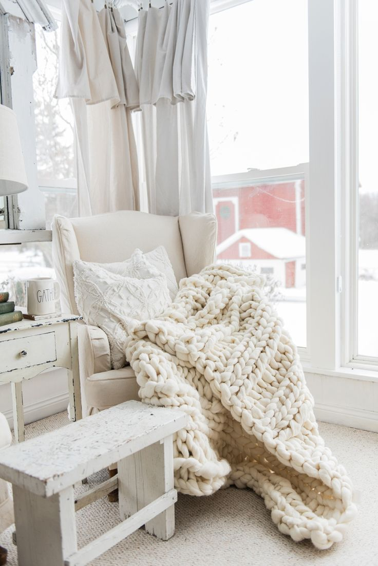 Handmade Chunky Knit Wool Blanket - proving that white can be cozy!