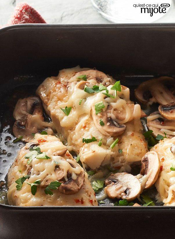 Plat de poisson, champignons et fromage au four #recette