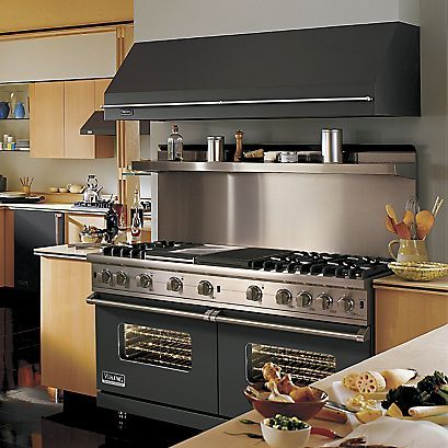 "Viking Range 60""W. Sealed Burner Gas Range - 60"" wide, six burners - 12"" wide griddle/simmer plate - 12"" wide char-grill - infrared broiler - 2 Convection ProFlow ovens. Comes in 12 different colors. - I want this cooking range."