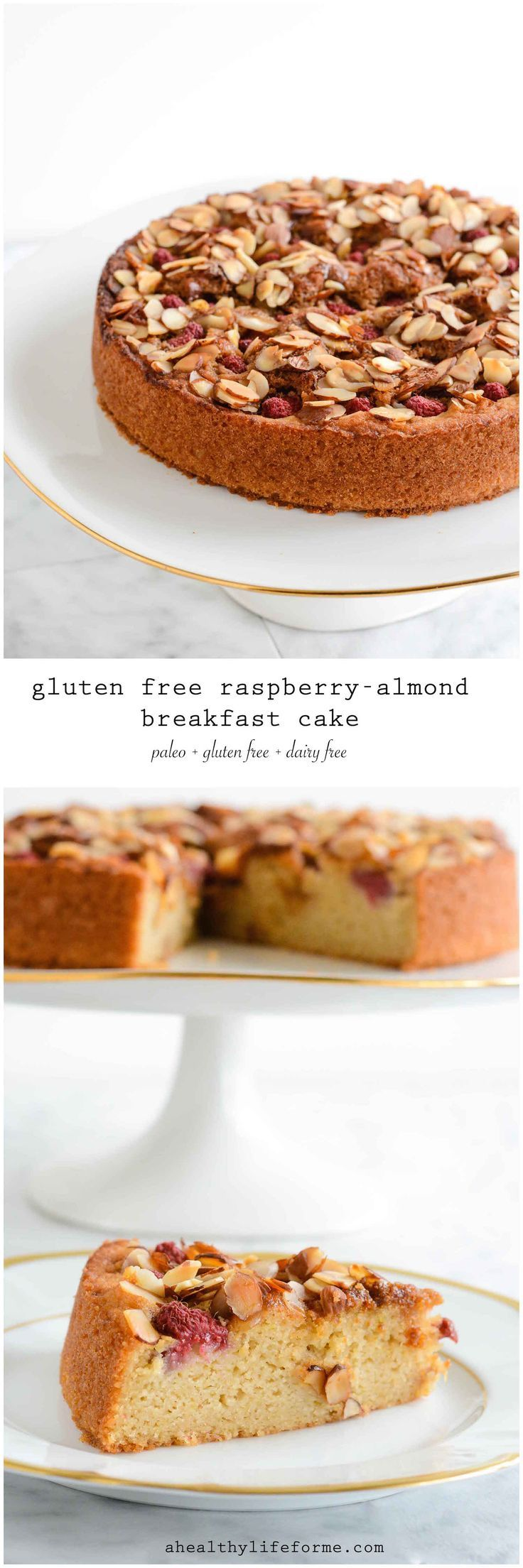 Gluten Free Raspberry Almond Breakfast Cake is moist, dense, delicious,  paleo, dairy free and granulated sugar free.  - A Healthy Life For Me