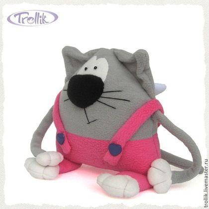 Игрушки животные, ручной работы. Ярмарка Мастеров - ручная работа. Купить Кот с крыльями Амурчик в розовых штанишках - мягкая игрушка из флиса. Handmade.