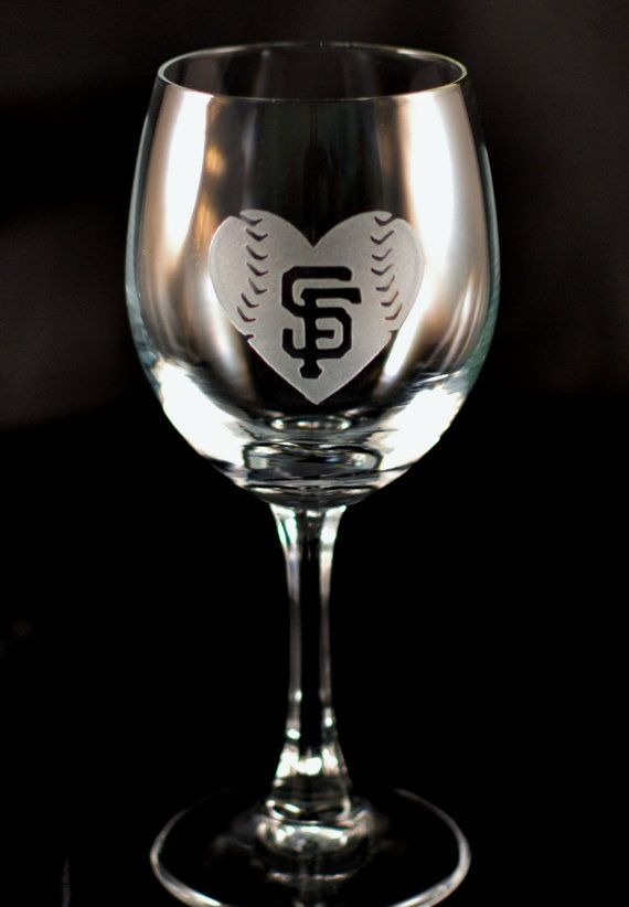Giants Wine Glasses. His  Hers San Francisco Giants Baseball and Baseball Heart Custom Etched Wine Glasses - Set of 2