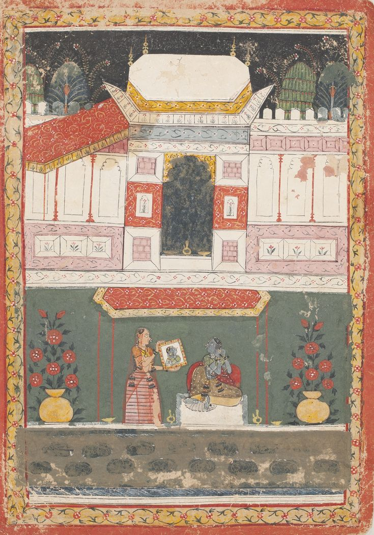 BILAWAL RAGINI. ILLUSTRATIONS TO A RAGAMALA SERIES, Opaque watercolor heightened with gold on paper, Madhya Pradesh, Malwa, ca. 1680, A nayika adjusting her jewelry being shown a mirror by her sakhi (confidant). Two large vases of flowering plants with red blossoms.
