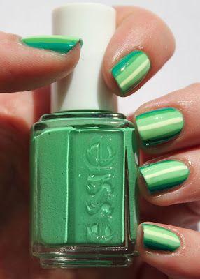 Green ombre stripes nail art with Essie Mojito Madness