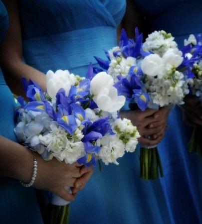 Blue Iris bouquet with white flower assortment, would add more green than white into this arrangement but love the irises