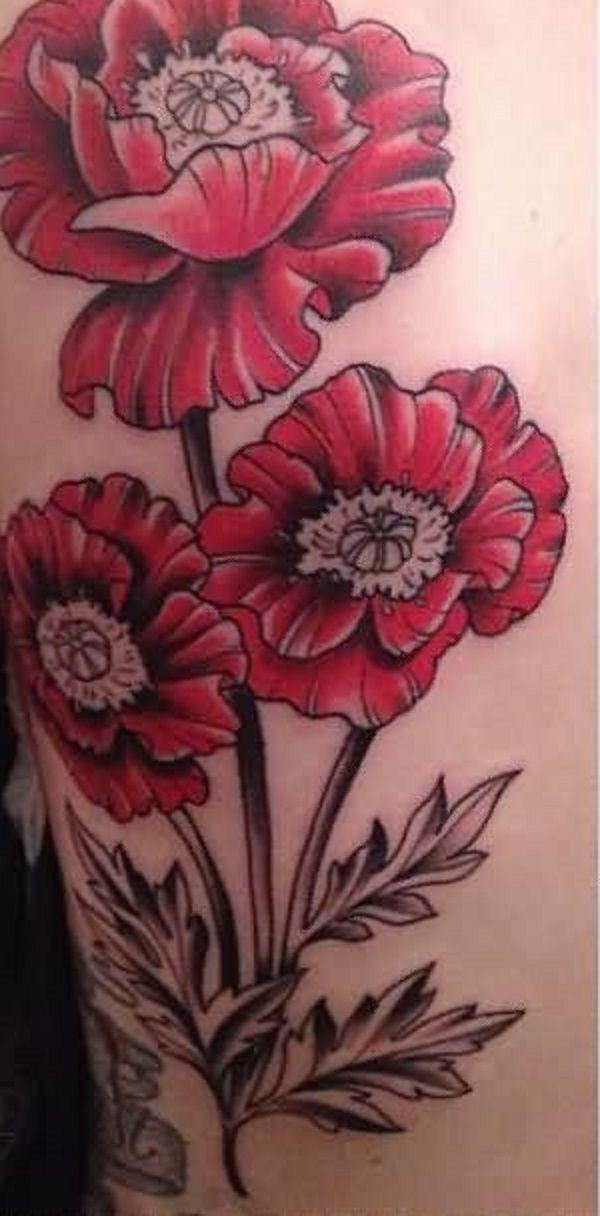 poppy flower tattoo 15 - 70 Poppy Flower Tattoo Ideas   <3