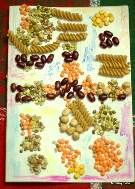 making diwali cards and rangoli with pulses for kids