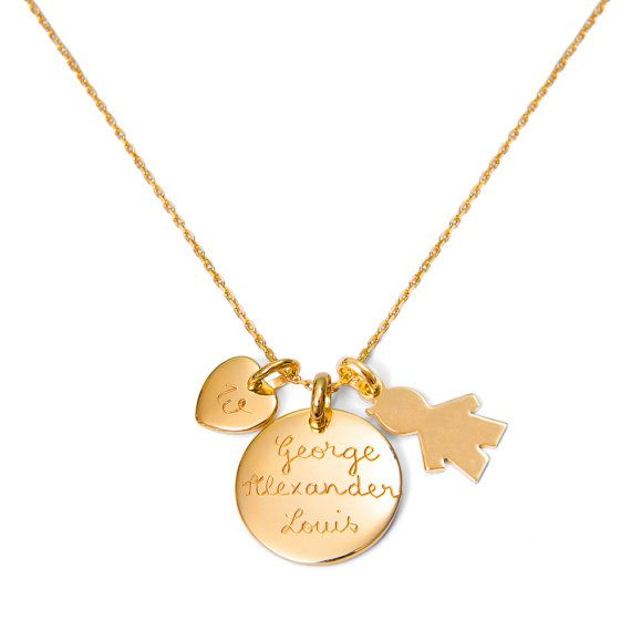 Personalized Gold Plated or Sterling Silver Duchess Necklace On Short Chain With Three Charms, necklace worn by The Duchess of Cambridge on Etsy, $135.04