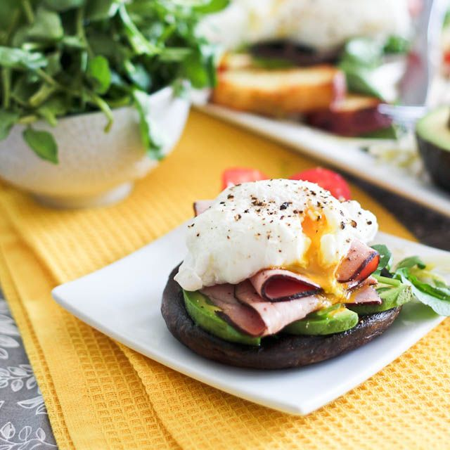 Poached Egg and Smoked Ham over Portobello Mushroom Caps - For those mornings when scrambled eggs just won't cut it...