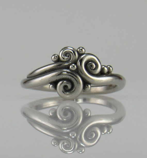 R1046-14k White Gold Swirl Ring One of a by DenimAndDiaJewelry