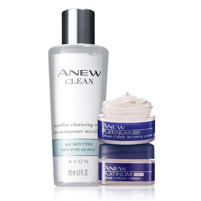 Anew Platinum Skin Care Set. Avon. Valued at $36.00, the trio includes: Anew Clean Micellar Cleansing Water, Anew Platinum Day Cream Travel Size Broad Spectrum SPF 25 and Anew Platinum Night Cream Travel Size. Shop online with FREE shipping with any $40 online Avon purchase.  #Avon #CJTeam #Sale #Anew #SkinCare #Platinum #Micellar #Avon4me #C18 #SkinCareBundle #Set #Faves Shop Avon Skin Care online @ www.TheCJTeam.com