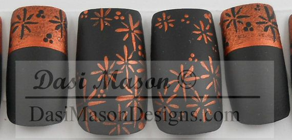 Copper and Black Stars Instant Acrylic Nail Set by dasimason