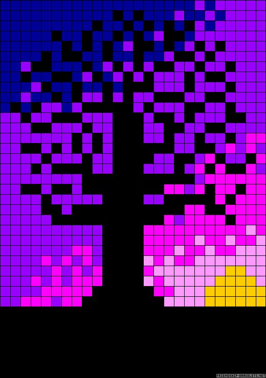 Tree on colorful background pattern / chart for cross stitch, knitting, knotting, beading, weaving, pixel art, and other crafting projects.