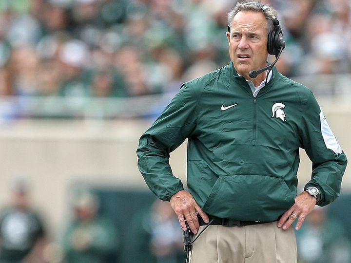 Shirts With Random Triangles: Mark Dantonio Will Have None Of Your Speculation Of His Leaving Michigan St. For South Carolina.