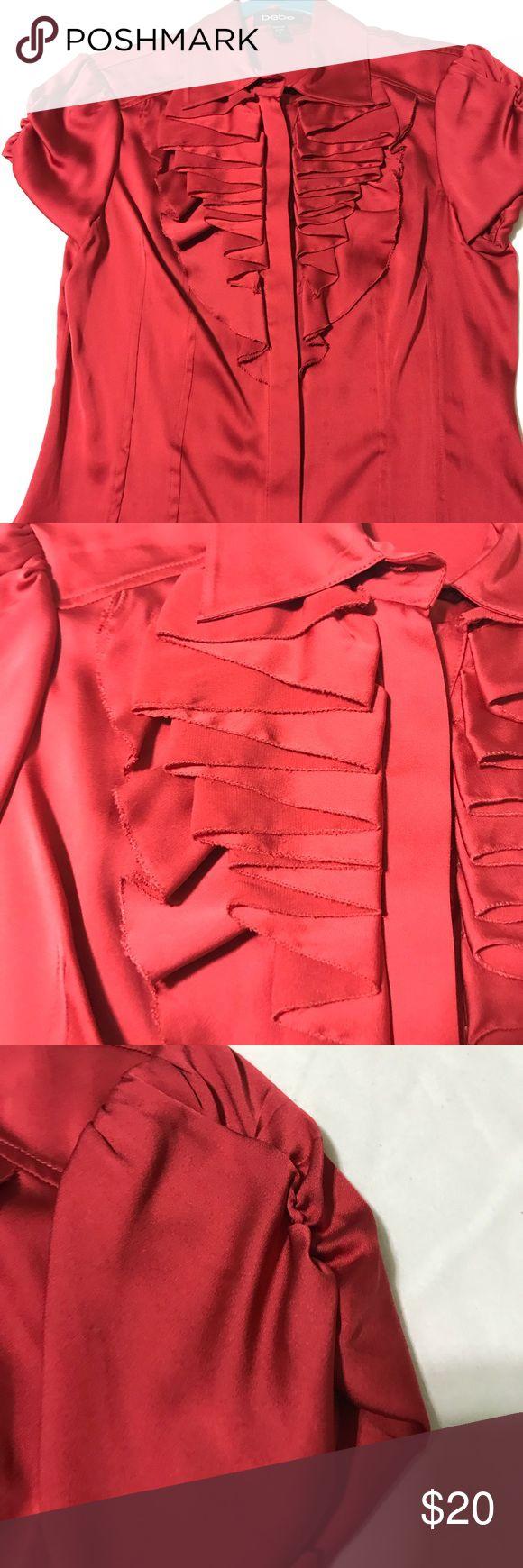 Bebe blouse Silky brick red ruffled blouse bebe Tops Blouses