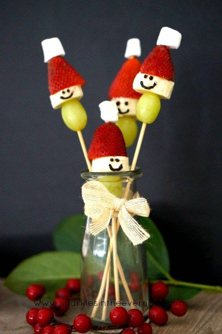 Santa Fruit Sticks - Easy Christmas Treats