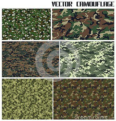 Six perfect forest camouflages in vector EPS format. Minimum number of layers.